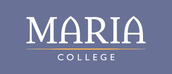 white and gold Maria College logo
