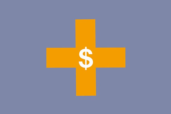 Financial Aid icon yellow cross with dollar symbol over it