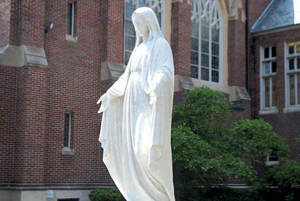 statue in front of Marian Hall