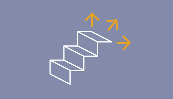 stairs with arrows pointing in three different directions at the top