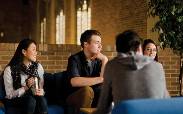 first year students talking in the student lounge in Marian Hall