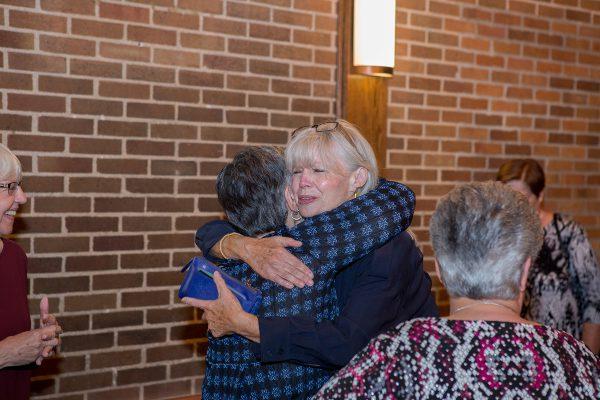 Friends hugging: Class of 1967 50th Reunion