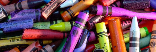 closeup of colorful crayons