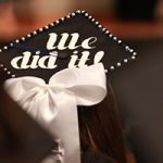 graduation hat with a white bow - we did it
