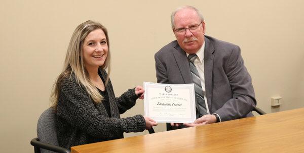 Student receiving the Andrea Lewis Siek AAS in Nursing Scholarship