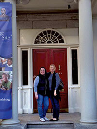 Sr. Victoria Battell and Dr. Anne Jung on the steps of Catherine's House on Baggot Street, Dublin, Ireland.