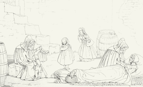 Drawing of nurses taking care of a sick mother and her children