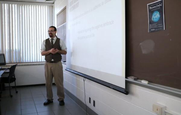 Professor teaching a psychology class