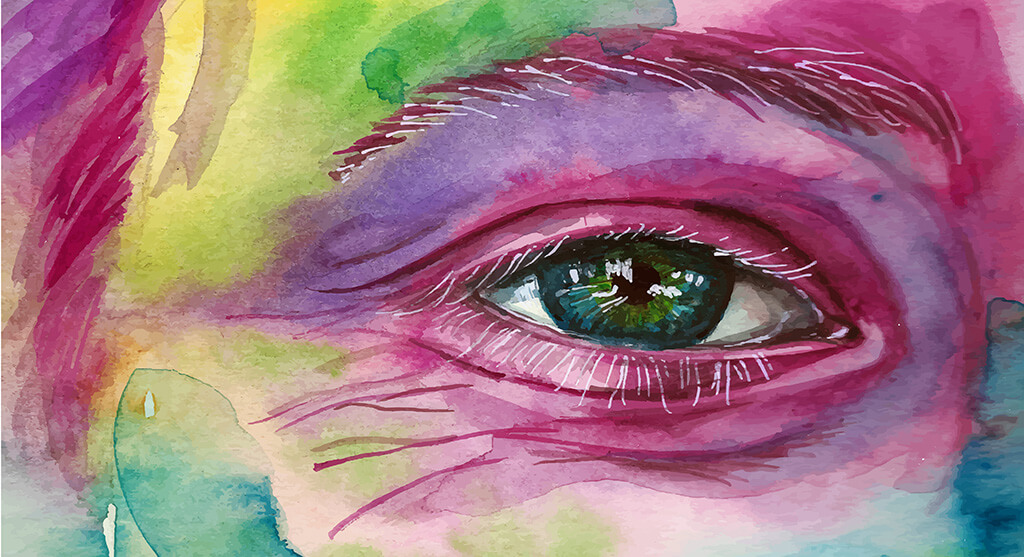 watercolor painting of a female face