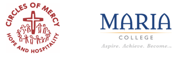 Circles of Mercy and Maria College logos