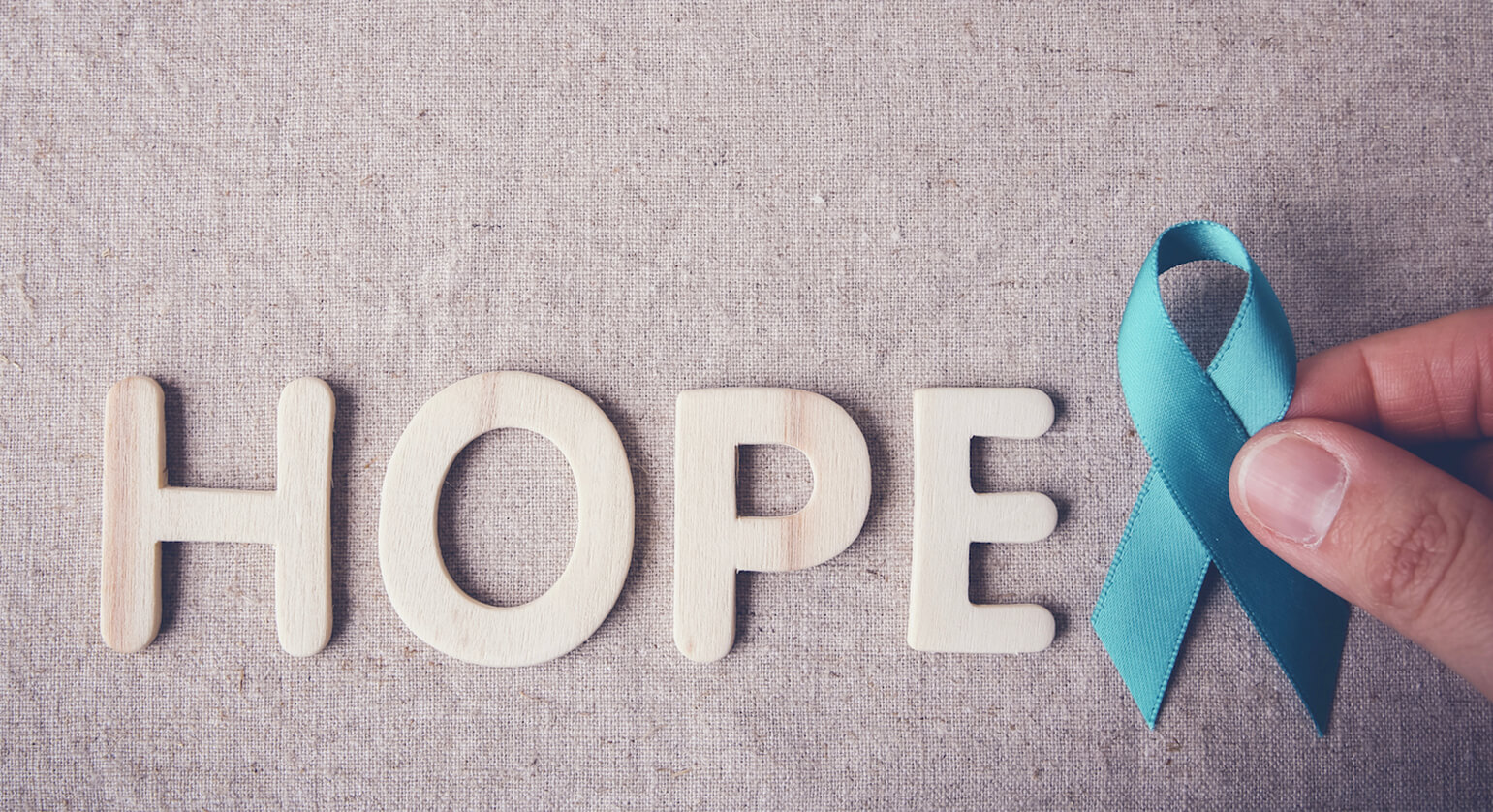 blue ribbon and text reading: hope