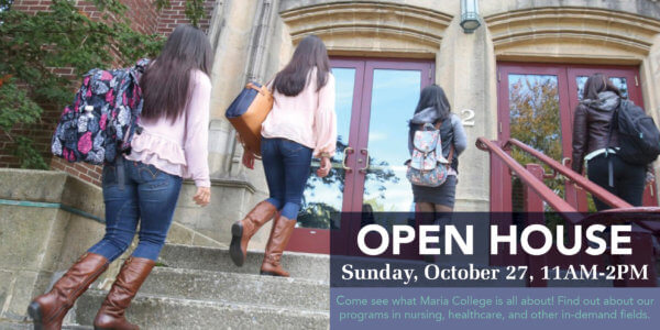 Students walking up Marian Hall steps