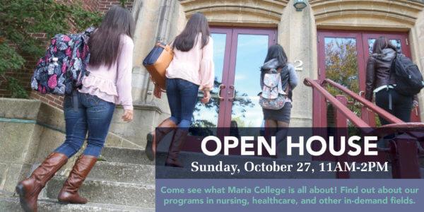 students walking into marian hall